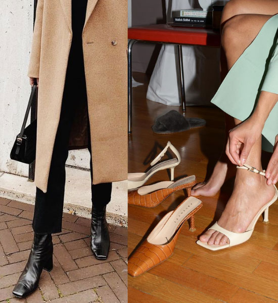 zapatos de puntas cuadradas